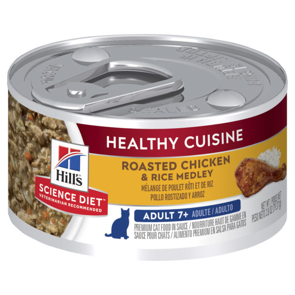 Hills Science Diet Adult Cat 7+ Healthy Cuisine Roasted Chicken & Rice Medley 79g x 24 Cans 1