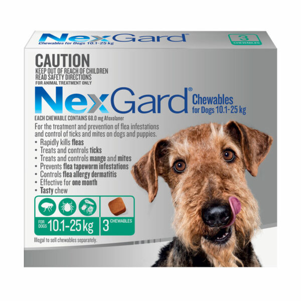 NexGard Green Chews for Large Dogs (10.1-25kg) - 3 Pack 1